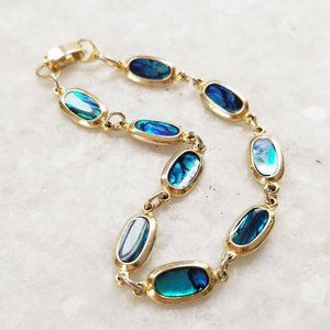 Vintage Blue Green Abalone Shell Gold Tone